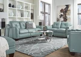 Rooms To Go Living Rooms - cindy crawford home marcella spa blue leather 3 pc living room