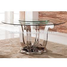 round glass table for 6 fashion 6 seats stainless steel round rotating dining table and