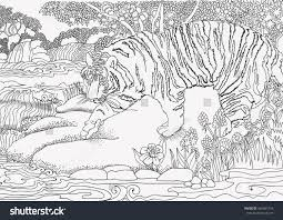 coloring page jungle africa tiger stock vector 466361216