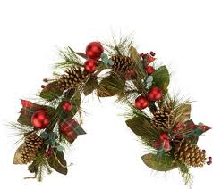 pinecone garland 4 mixed pine berry and pinecone garland by valerie page 1 qvc