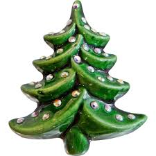 porcelain christmas tree with lights vintage christmas tree brooch green glazed porcelain farm sign ab