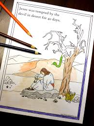 40 days of lenten printables jesus in the desert coloring page