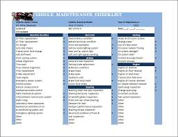 Maintenance Checklist Template Excel General Vehicle Maintenance Checklist Template Word Excel