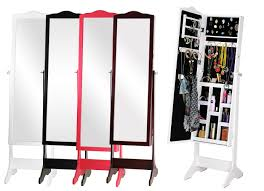 Free Standing Jewelry Armoire With Mirror Decorating Beautiful Wooden Standing Mirror Jewelry Armoire With