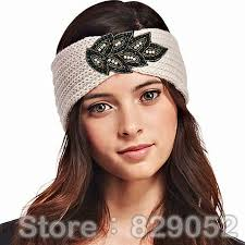 beaded headband cystal wool knitted turban headband for women winter warm hairband