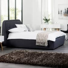 morrison felt solid wood frame ottoman storage bed double grey dwell