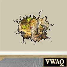 Stick Wall Safari Scene Leopard Hole In The Wall Art Peel And Stick