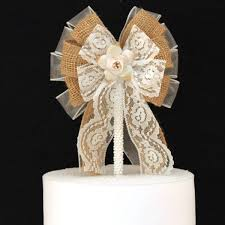 wedding bows burlap lace floral rustic wedding bow cake topper package