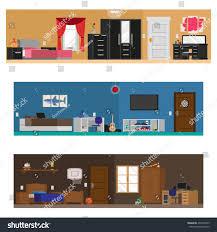 Bedroom With Furniture Bedroom Set 3 Teenager Room Scenes Stock Vector 477690529