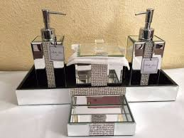Bed Bath Decorating Ideas by Bella Lux Mirrored Rhinestone Bathroom Accessories Dispenser