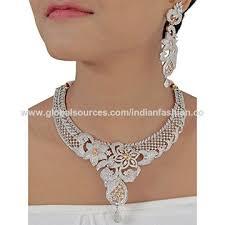 cubic zirconia necklace set images India cubic zirconia necklace combo set from kolkota wholesaler jpg