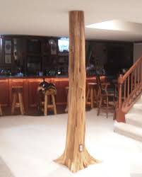 authentic cedar log basement pole covers support post wrap rustic