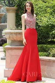 carlyna red halter neck beaded mermaid prom formal dress e60902