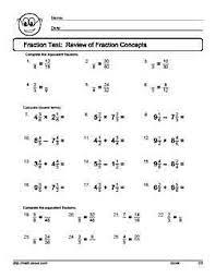 fraction tests and worksheets