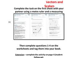 vectors and scalars task including worksheet by