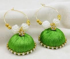 jhumka earring ethnic indian goldtone thread wrapped jhumka earring set women