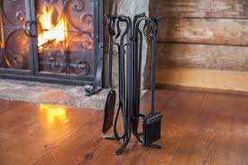 amazon com 5 piece hand forged iron compact fireplace tool set