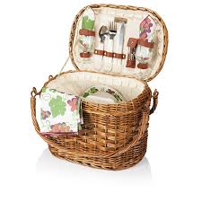 amazon com picnic time u0027romance u0027 willow picnic basket with deluxe