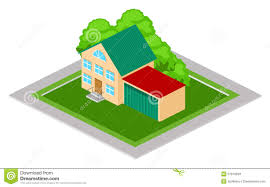 House With Garage Vector Isometric House U0026 Garage Stock Vector Image 61213055