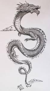 wonderful black ink dragon tattoo design for men