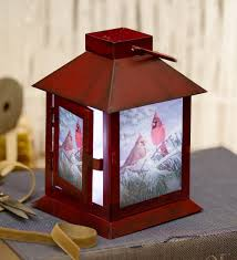 led lighted metal cardinal lantern solar glow accents lights