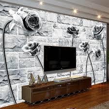 wallpaper design batu bata cool black white rose on brick wallpaper photo 3d room natural