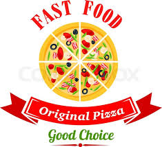 pizzeria badge design template with sliced pizza topped with