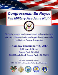 United Process Service U S Military Service Academy Nominations U S Congressman Ed Royce