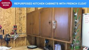 repurposed kitchen cabinets with french cleat youtube