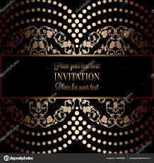 Black Invitation Card Abstract Background With Antique Luxury Black And Gold Vintage