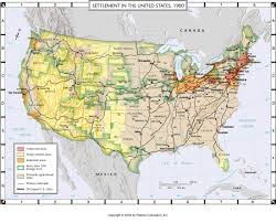 United States Map By Population by Atlas Map Settlement In The United States 1900