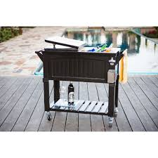 Outdoor Cooler Cart On Wheels by Permasteel 80 Qt Black Antique Furniture Style Rolling Patio