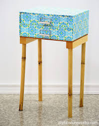 nightstand made of fiberboard drawer unit and bamboo legs u2013 diy