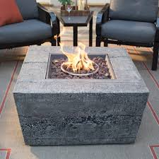 Ember Table Red Ember Glacier Stone 35 In Square Gas Fire Pit Table With Free