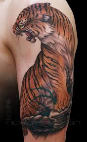 arm realistic tiger tattoo by nicklas westin