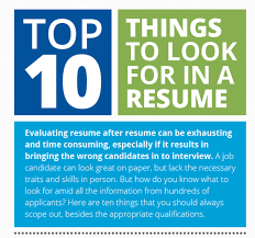 Top 10 Best Resumes by Top 10 Things To Look For In A Resume Infographic