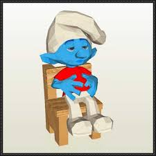 smurfs slouchy smurf free papercraft download