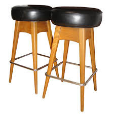 backless mid century modern leather upholstered bar stools with