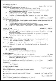 career center sample curriculum vitae internship experience