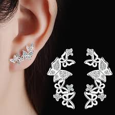 left side earring butterfly earring studs prong zirconia stones left and right side