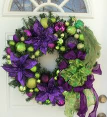 Home And Garden Christmas Decoration Ideas Christmas Wearths Pic Peacock Purple Lime Green Christmas Wreath