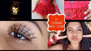 ladies spider halloween costume diy spiderwoman makeup and costume youtube