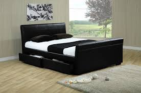 Double Faux Leather Bed Frame by Houston 4 Drawer 4ft 6 Double Black Leather Bed U2013 Alexander
