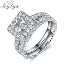 wedding sets for mytys pave setting white gold color silver square wedding