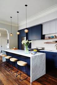 Marble Floors Kitchen Design Ideas Navy And White Marble 60 Inch Island For Modern Kitchen Design