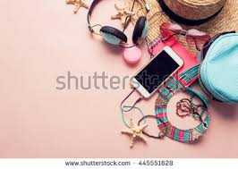 girl accessories top view essential modern stock photo 445551628
