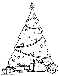 christmas tree with presents coloring page coloring home