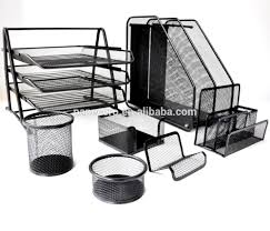 Office Desk Tray Metal Office Desk Organizer Wire Mesh Tray Set 7 Pieces Document