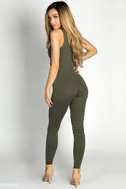 legging jumpsuit aaliyah olive green jersey tank catsuit jumpsuit