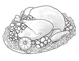 a whole turkey sets of thanksgiving day dinner menu coloring page